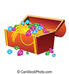 Treasure Chest - Vector illustration of treasure chest on...