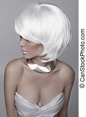 Beauty Fashion Woman Portrait. White Short Hair. Hairstyle. Beautiful Blond girl isolated on gray background. Mulatto model. Make up. Vogue Style. Sexy Glamour female