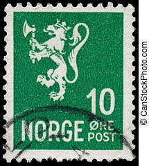 Stamp printed in Norway, shows Norway Coat of Arms - NORWAY...