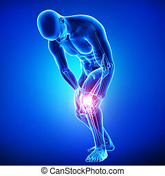 Male knee pain anatomy on blue - 3d rendered Illustration of...
