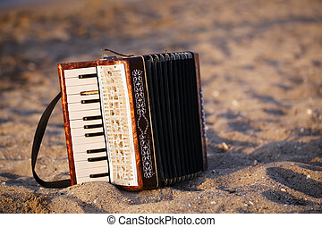 Accordian on a sandy beach - Accordian standing on the sand...
