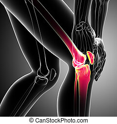 Human knee pain on gray - 3d rendered Illustration of Female...