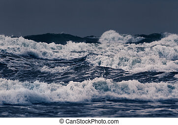 Waterscape - Stormy waves on the surface of the ocean