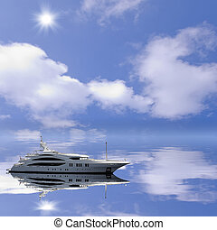 Fashionable yacht - Fashionable yacht in the open sea at the...