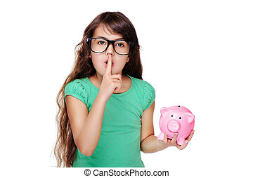 girl holding piggy bank making secret gesture