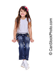 girl sitting front view on white