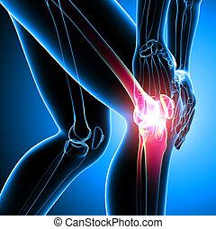 Human knee pain on blue