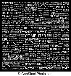 COMPUTER. Background concept wordcloud illustration. Print...