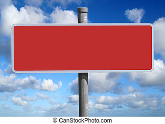 Wide blank red sign.