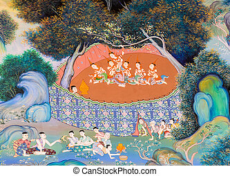 Thai mural painting of the Life of Buddha (The birth of...