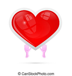 Vector Illustration of Human Hands Holding Red Heart