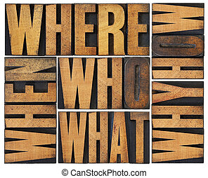 questions abstract in wood type - who, what, how, why,...