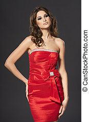 moda, mulher, luminoso, vermelho, coquetel, Vestido