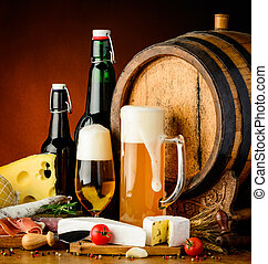 beer and traditional food - still life with beer traditional...