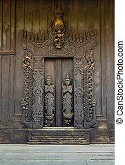 Burmese wood carving door - Wood carving door at Shwe In Bin...