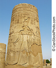 Temple of Kom Ombo, Egypt: column with Horus god relief