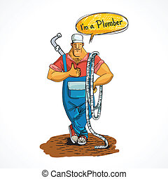 Plumber with water pipe and hose