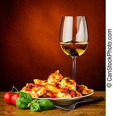 traditional tortellini pasta and wine - traditional italian...