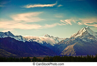 New Zealand scenic mountain landscape shot at Mount Cook...
