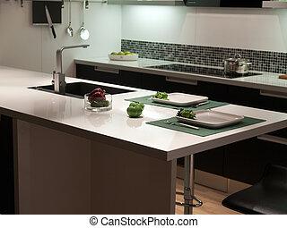 moderno, estilo, moderno, diseño, negro, blanco, cocina