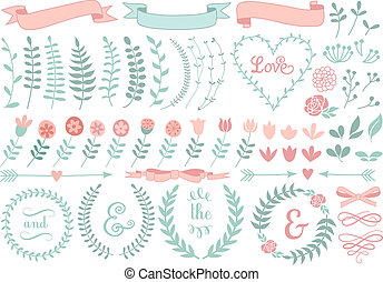 floral laurel wreath, vector set - vintage floral laurel...
