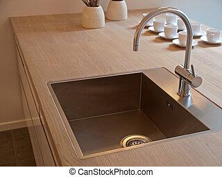 detalles, moderno, cocina, fregadero, golpecito, grifo