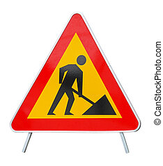 Road works isolated included clipping path