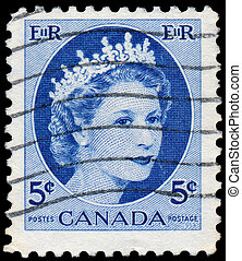 Stamp printed by Canada, shows Queen Elizabeth II - CANADA -...