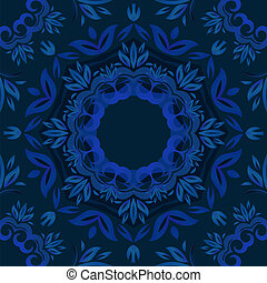 Abstract blue floral background with round vector pattern