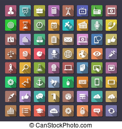 Big flat icons collection - 64 icons for web and app...