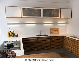 moderno, moderno, limpio, líneas, diseño, de madera, cocina