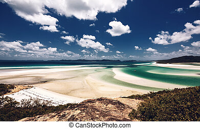 Whitehaven beach in Australia - Whitehaven Beach in the...