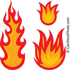 Fire flames isolated on a white background