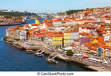 Portugal, Porto, view of the city and Douros river early in...