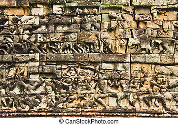 Terrace of the Elephants north buttress carvings Cambodia,...