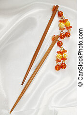 barrette for hair - wooden sticks - barrette for hair with...