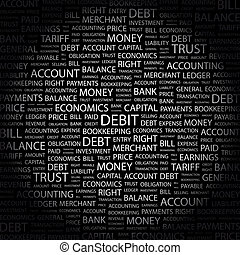 DEBIT Concept illustration Graphic tag collection Wordcloud...