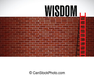 ladder to wisdom illustration design over a brick background...