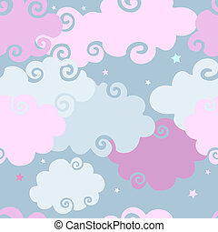 Pink Clouds seamless background.