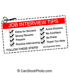 Red Job Interview Tips Coupon - A red and white Job...