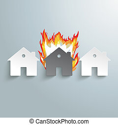Three Paper Houses Fire - Infographic with white houses on...