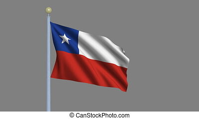 Flag of Chile with alpha matte - Flag of Chile waving in the...