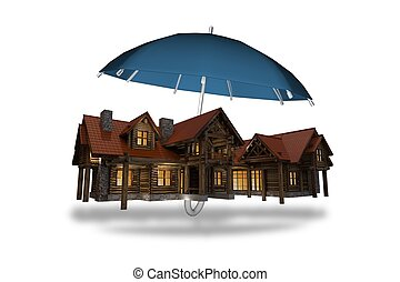 Home Insurance Concept Illustration. Large Log Home Covered...
