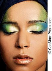 Eye Makeup. - Green Eye Makeup close up.