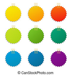 Color Labels Set, Isolated On White Background, With...