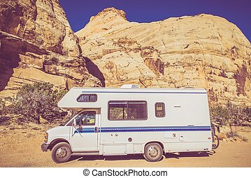 Vintage Camper in Utah Sandstone Canyon Class C Recreation...