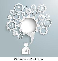 Speech Bubble Gear Machine Business - Speech bubble gear on...