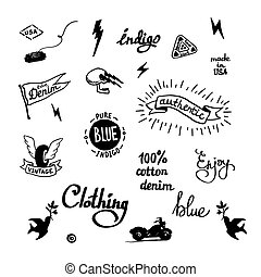 old school denim biker symbols - set of old school denim...