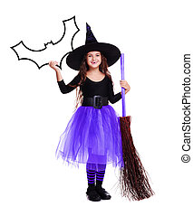 halloween witch in violet skirt holding speaking bubble