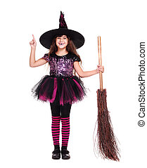 halloween witch smiling pointing to the copy space area